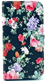 Angelina(TM) Black Red Floral Flower Magnetic Flip PU Leather Wallet Card Slot Stand Phone Case Cover for Samsung Galaxy S3 i9300 Pattern #8