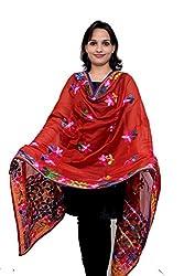 S.K. Ethnic India Women Phulkari Dupatta Hand Made Chanderi Silk Red Stole