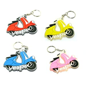 Vespa Rubber Keychain Motorcycle Key Ring 4 Pieces