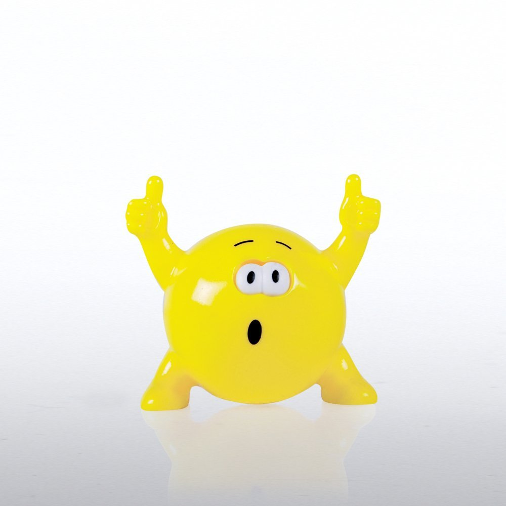 photo round squeeze toy with excited face, arms, legs, and thumbs up