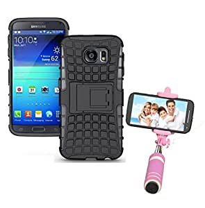 Droit Shock Proof Protective Bumper back case with Flip Kick Stand for Samsung S6EDGE+ + Mini Pocket Selfie Stick with Aux cable by Droit Store.