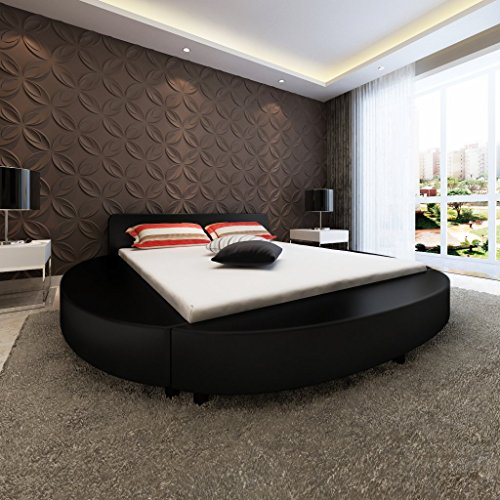 vidaxl kunstleder rundbett lattenrost 180x200 schwarz. Black Bedroom Furniture Sets. Home Design Ideas