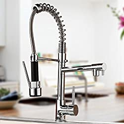 "CO-Z 17.7"" Kitchen Single Handle Sink Faucet Two 360° Swivel Spouts Pull Down Mixer Tap Chrome Finished"