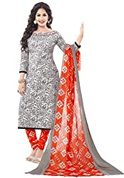 Salwar House Orange Unstitched Cotton Printed Dress Material with Dupatta