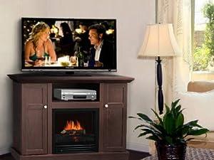 corner electric fireplace tv stand entertainment center dark brown everything else. Black Bedroom Furniture Sets. Home Design Ideas