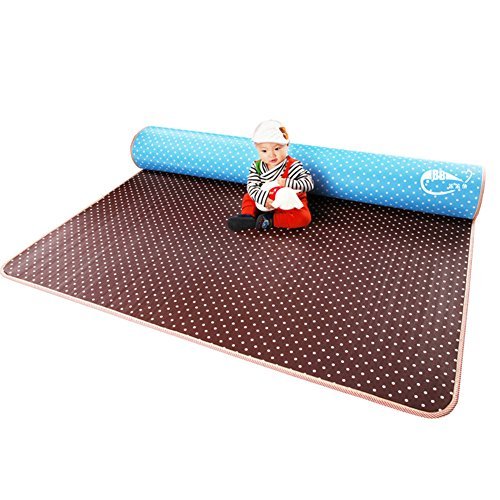 Baby 180*200*1Cm Coffee And Blue Dot Double Sided Foam Floor Mats