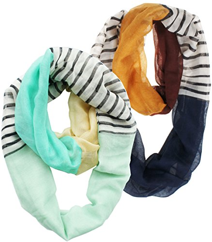 Vivian & Vincent Soft Light Weight Stripe Mosaic Sheer Infinity Scarf (2 Pack Green and Brown)