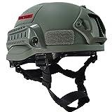 OneTigris ミリタリーヘルメット MICH 2002 米軍レプリカ装備 サバゲー・作業用・山用など 多目的 軽量 マウントレール付き かっこいい (グレー)
