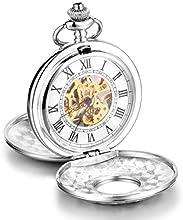 Infinite U Alta calidad Esqueleto Números Romanos Blanco Grande Doble tapas Reloj de Bolsillo Mecánico