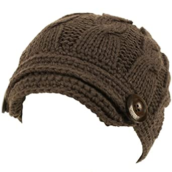 Hand made Cable Hand Knit Skull Beanie Ski Hat Charcoal Gray