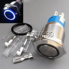 buy 19Mm 12V Blue Led Angel Eye Push Button Metal On-Off Switch + Connector And O-Ring [Gold Sister]