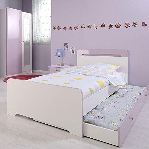 Kinderzimmer 4-teilig weiss lila, Kleiderschrank + Bett + Nachttischschrank, Jugendzimmer Janine 3 günstig