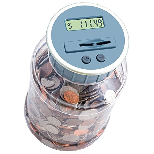 M&R Digital Counting Coin Bank. Batteries included! Personal coin counter/money counting jar, totals up your savings- works with all U.S. Coins-In Retail Packaging. (Digital Coin Bank compare prices)