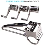 Rotary Cheese Grater - LOVKITCHEN Vegetable Cheese Cutter Slicer Shredder with 3 Interchanging Rotary Ultra Sharp Cylinders Stainless Steel Drums & Slicer