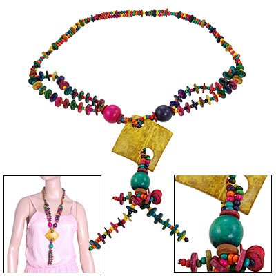 Rosallini Lady Block Color Disc Bead Square Pendant Double Layer Coco Shell Necklace