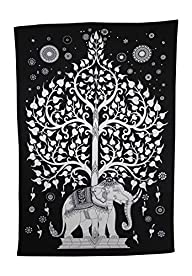 Elephant Tree Tapestry ,Good Luck White Elephant Tapestry , Hippie Gypsy Wall Hanging , Tree of Life…