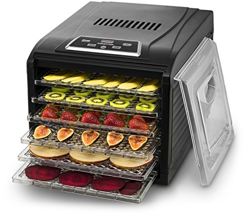 Gourmia GFD1650B Premium Countertop Food Dehydrator, With 6 Drying Shelves, Digital Thermostat, 8 Preset Temperature Settings, Airflow Circulation, Countdown Timer, Free Recipe Book Included - Black (Spice Dehydrator compare prices)