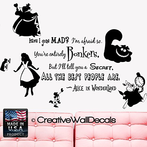 Wall Decal Vinyl Sticker Decals Art Decor Design Alice in Wonderland Rabbit Cat Clock Have you gone Mad Quote Dorm Bedroom Fashion (r1335) (Alice Window Decal compare prices)