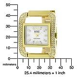 Badgley Mischka Women's BA1148CMGB Swarovski Crystals Gold-Tone Mother-Of-Pearl Bangle Bracelet Watch