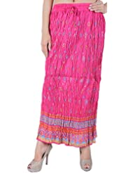 Exotic India Rose Pink Crushed Elastic Boho Skirt With Printed Flowers - 5