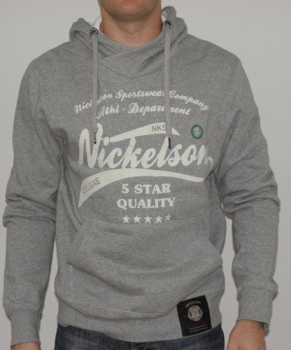 Nickelson Mens NMD0002 Overhead Hoody Grey Marl Large