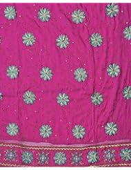Exotic India Fuchsia Salwar Kameez Fabric With Ari Embroidered Flowers - Fuchsia