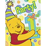 8pc Winnie the Pooh's 1st Birthday Party Invitation Cards