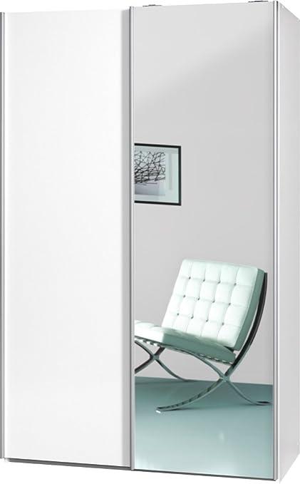 """Schwebeturenschrank """"Soft Plus Smart Typ 42"""", 120 x 194 x 61cm, Weiß/Weiß/Spiegel"""