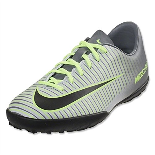 Nike Kids Jr Mecurialx Vapor XI Tf Pr Pltnm/Blk Ghst Grn Clr Jd Turf Soccer Shoe 2.5 Kids US (Nike Vapor Ronaldo compare prices)