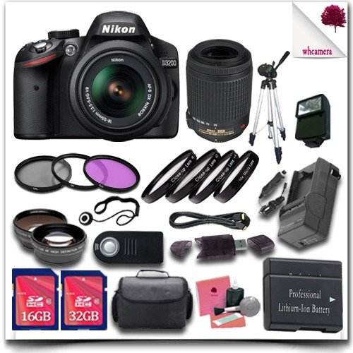 Nikon D3200 Digital SLR Camera with 18-55mm AF-S DX VR (Black) + Nikon 55-200mm AF-S DX VR Lens + 32GB SDHC Class 10 Card + 16GB SDHC Class 10 Card + Wide Angle Lens / Telephoto Lens + 3pc Filter Kit + Close Up Macro Set + 50 Tripod + External Slave Fla цифровая фотокамера nikon d5300 kit af p dx 18 55mm vr black vba370k007