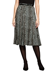M&S Collection Faux Snakeskin Print Long Skirt with Belt