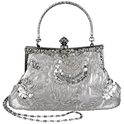 MG Collection Ginny Seed Beaded Rose Evening Purse Clutch Bag, Silver, One Size