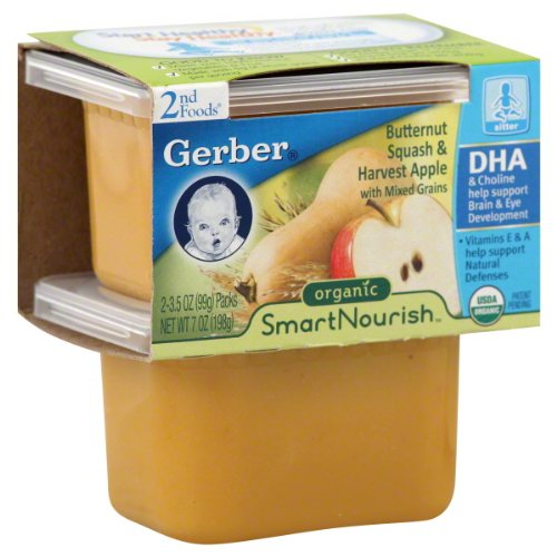 Gerber 2Nd Foods Smart Nourish 3.5 Oz Butternut Squash & Harvest Apple With Mixed Grains, Organic 12 Pack front-959480