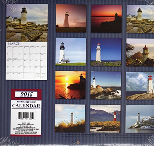 Lighthouses - 2015 12 Month Calendar Includes 12 Month Mini Calendar + Free Bonus 2015 Magnetic Calendar (3 Pack) includes
