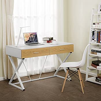 Tribesigns Computer Desk with 2 Utility Drawers, X-Shaped Modern Writing Desk Workstation for Home Office or Living Room (White)