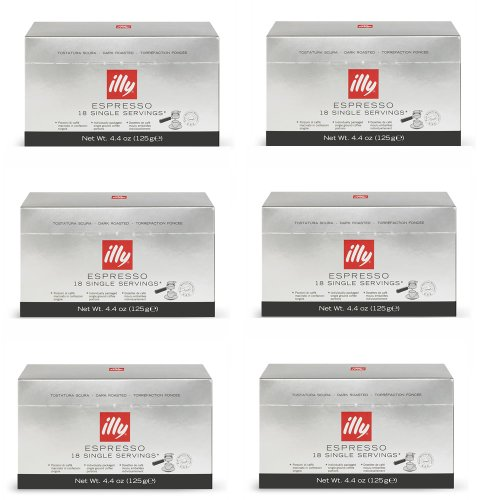 Illy Caffe Espresso, (Dark Roast, Black Band), 18-Count E.S.E. Pods 4.4 Oz (Pack Of 6)