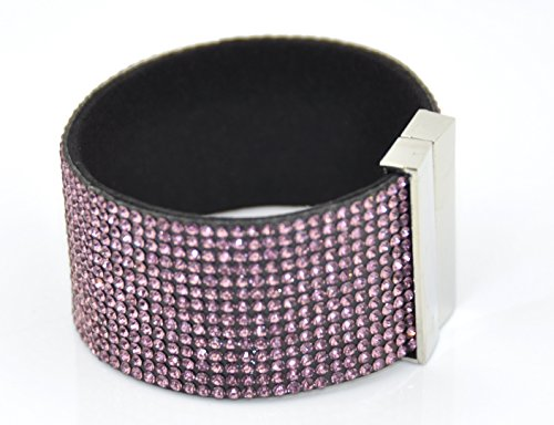 wide-wrap-rhinestone-bling-bracelet-band-magnetic-clasp-lilac