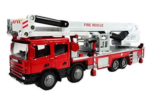 1:50 Scale Alloy Heavy Equipment Diecast Vehicle Moveable Aerial Platform Fire and Rescue Truck Red (Heavy Equipment Models compare prices)