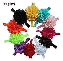 FuzzyGreen® Pretty Baby Girls Chiffon Flower Headband Hairband Photography (11 pieces)