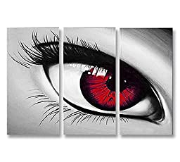 Neron Art - Handpainted Abstract Oil Painting on Gallery Wrapped Canvas Group of 3 pieces - The Eye 72X48 inches