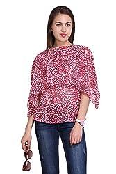 New Sierra women georgette red printed shawl neck top