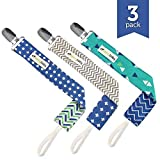 Pacifier Clip - 3 Pack, BOYS - Ziggy Baby 2-Sided Design, Pacifier Holder - B..., Model: , Newborn & Baby Supply