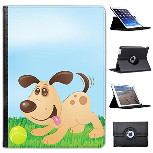 Imposizioni cagnolino con macchie e palla Custodia a Libro in finta pelle con funzione di supporto per i modelli Apple iPad nero Wagging Puppy Dog with Spots and Ball iPad Air 2