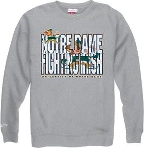 Notre Dame Fighting Irish Mitchell & Ness NCAA Throwback Crew Sweatshirt - Gray by Mitchell & Ness