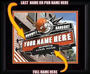 NFL Personalized Sports Pub Custom Framed Hangout Print Cleveland Browns License by You