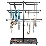 Black Metal 3 Tier Countertop Jewelry Hanger Tree Rack / Necklace & Bracelet Organizer w/ Ring Tray