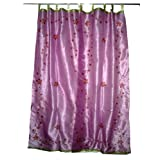 Gift Idea-2 Organza Fuchsia Base with Red Bell Embroidered Sari Curtains Drapes Panelby Mogulinterior