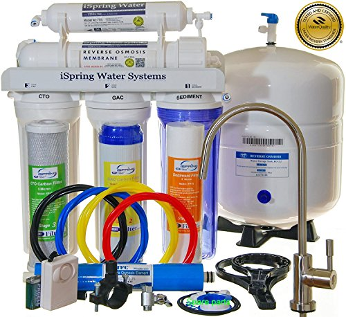 iSpring RCC7 - Built in USA, WQA Certified Reverse Osmosis 5-Stage 75GPD Under-Sink Water Filter with Brushed Nickel EU Faucet & See-through Housing