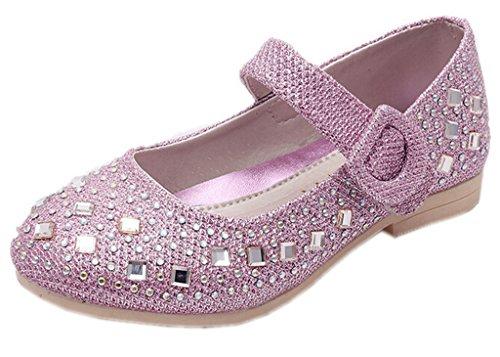 DADAWEN Girls Rhinestone Velcro Strap Princess Flat Shoes (Toddler/ Little Girl) Purple US Size 8 M (Princess Shoes For Toddlers)