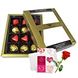 Valentine Chocholik's Luxury Chocolates - Mellow Treat Of Wrapped Chocolates With Love Card And Rose